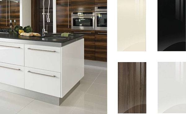 Gloss kitchen doors,  in  white, black, cream & walnut with durable hardwearing finish from Kitchen Makeover,  Ireland