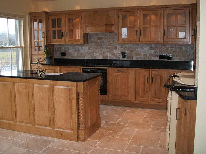 A beautiful oak in frame kitchen manufactured and for Kitchen cabinets ireland