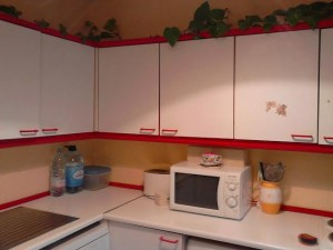 Sophie's kitchen before refurbishment by Kitchen Makeover, Ireland - Sophie wanted to change the red and white colour scheme